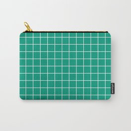 Paolo Veronese green - green color - White Lines Grid Pattern Carry-All Pouch