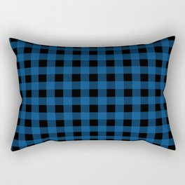 Plaid (blue/black) Rectangular Pillow