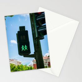 0000340 Traffic light supports the  LGBQT community in Madrid Spain 3443 Stationery Cards