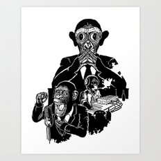 Three Wise Monkeys Art Print