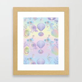 Seashell Wallpaper Framed Art Print