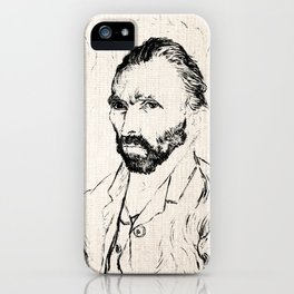 Vincent Van Gogh Self Portrait Black and White on Canvas iPhone Case