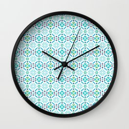 Floral Mosaic Turquoise Pattern Wall Clock