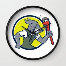 Dog Plumber Running Monkey Wrench Circle Cartoon Wall Clock