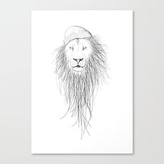 Beanie lion Canvas Print