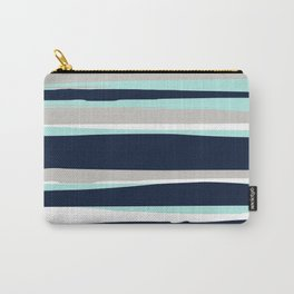 Ocean, Stripe Abstract Pattern, Navy, Aqua, Gray Carry-All Pouch