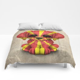 Cute Puppy Dog with flag of Macedonia Comforters
