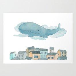 A whale in the sky Art Print