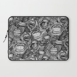 BITE ME roses and orchids BLACK WHITE Laptop Sleeve