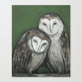 Soul Mates // Barn Owls Owl Bird Feather Wing Nature Love Animal Wild Nest Couple Marriage Family Canvas Print