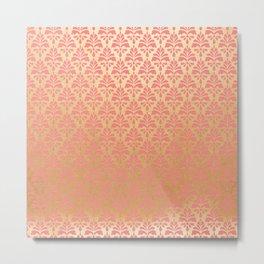 Modern chic coral faux gold floral elegant damask Metal Print