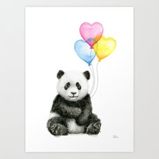Panda Baby with Heart-Shaped Balloons Whimsical Animals Nursery Decor Art Print