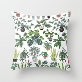 plants and pots pattern Throw Pillow