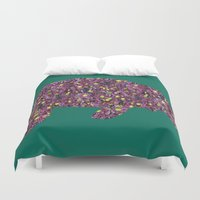 manatee Duvet Covers featuring Flower Manatee by Whimsical Notions Design
