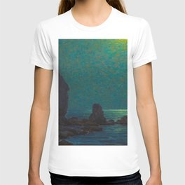 Granville Redmond Catalina Island Coast Under a Moonlit Sky Oil Painting Vintage American Art T-shirt