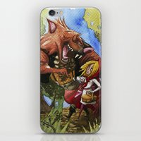 red hood iPhone & iPod Skins featuring Red Hood by Jose Luis Ocana