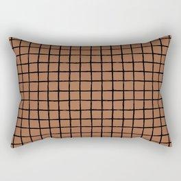 Geometric raster minimal raw brush strokes grid pattern copper Rectangular Pillow
