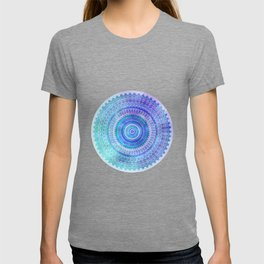 Blue Turquoise And Purple Watercolor Mandala Art T-shirt