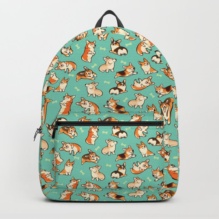 Jolly corgis in green Rucksack
