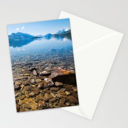 Snow-capped mountains view in summer from the rocky shore of lake Wakatipu. Stationery Cards