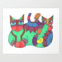 Green Flower Zen Cat Art Print