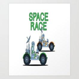 Funny Space Race Astronaut Moon Buggy print Art Print