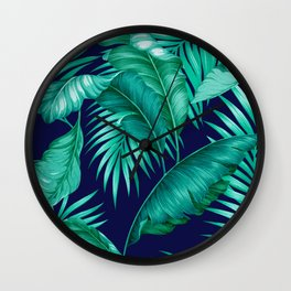 HAWAIIAN GARDEN TROPICAL LEAVES | turquoise navy Wall Clock