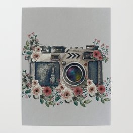 Camera with Summer Flowers Poster