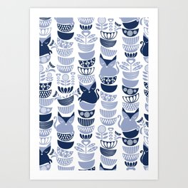 Swedish folk cats III // white background pale and navy blue kitties & bowls Art Print