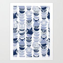 Swedish folk cats III // white background pale and navy blue kitties & bowls Art Print