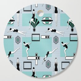 Art Deco Swimmers Cutting Board