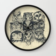 Nine Owls Wall Clock