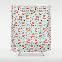Cute Fall Fox Mint Shower Curtain