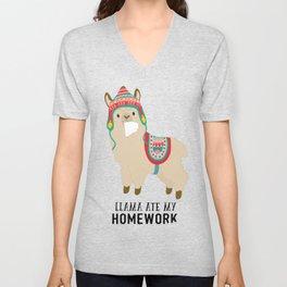Llama ate my homework Unisex V-Neck