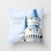 dave matthews Throw Pillows featuring Matthews Room by Tiffany Dawn Smith