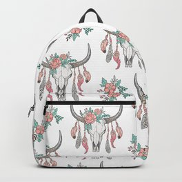 Boho Longhorn Cow Skull with Feathers and Peach Flowers Backpack