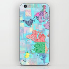 world map floral vintage iPhone Skin