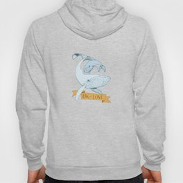 Big Love (gold and blue) Humpback Whales Hoody