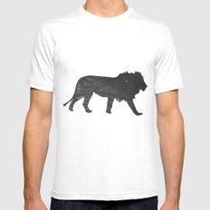 Lion (The Living Things Series) MEDIUM White Mens Fitted Tee