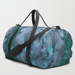 Malachite Glitter Stone and Ink Abstract Gem Glamour Marble Duffle Bag