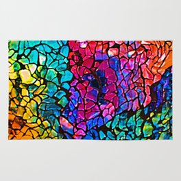 Colorful Rainbow Colored Cracked Mosaic Glass Rug
