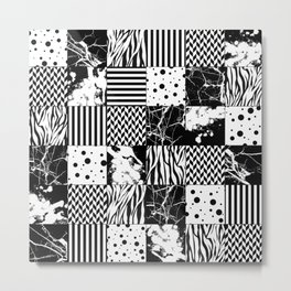 Eclectic Black and White Squares Metal Print