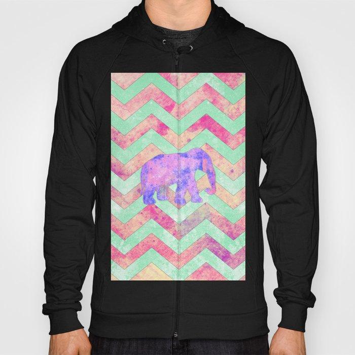 7c8650a2b2 Whimsical Purple Elephant Mint Green Pink Chevron Hoody by ...