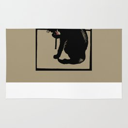 Black cat modern woodcut style Rug