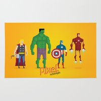super heroes Area & Throw Rugs featuring Super Heroes - Pixel Nostalgia by Boo! Studio