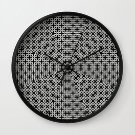 Trendy geometric weave patterns in grey tones and black Wall Clock