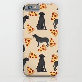 Black Lab pizza cute funny dog breed pet pattern labrador retriever iPhone Case