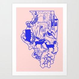 Illinois Wycinanki Pink and Blue Art Print