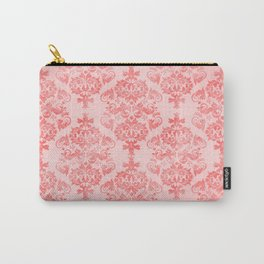 Vintage Retro Damask Watercolor Pattern Pastel Pink Carry-All Pouch