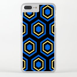The Hive - Blue-Yellow-Blue Hexagons on Black Background Clear iPhone Case